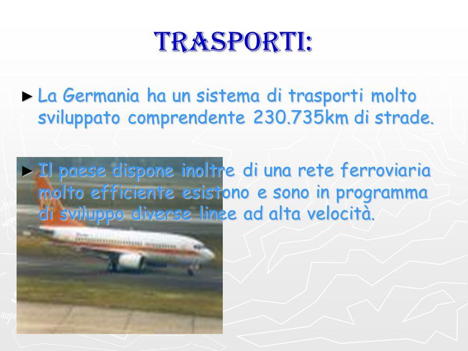 TRASPORTI: La Germania ha un sistema di trasporti molto sviluppato comprendente 230.735km di strade.