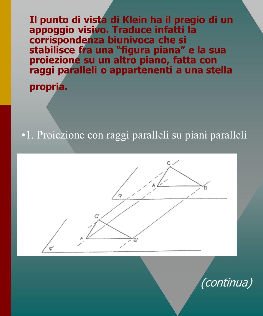 1. Proiezione con raggi paralleli su piani paralleli