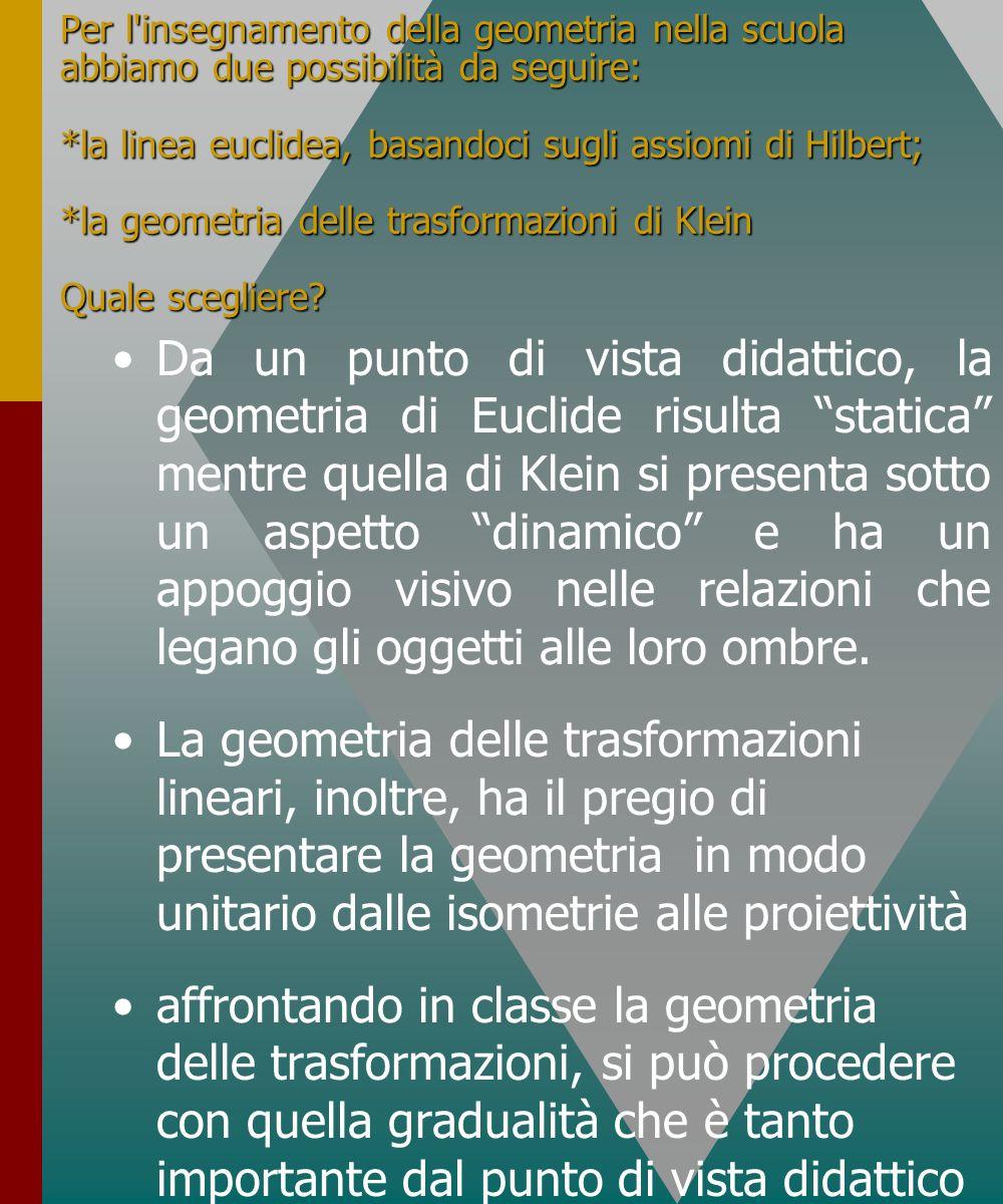 Per l insegnamento della geometria nella scuola abbiamo due possibilità da seguire: *la linea euclidea, basandoci sugli assiomi di Hilbert; *la geometria delle trasformazioni di Klein Quale scegliere