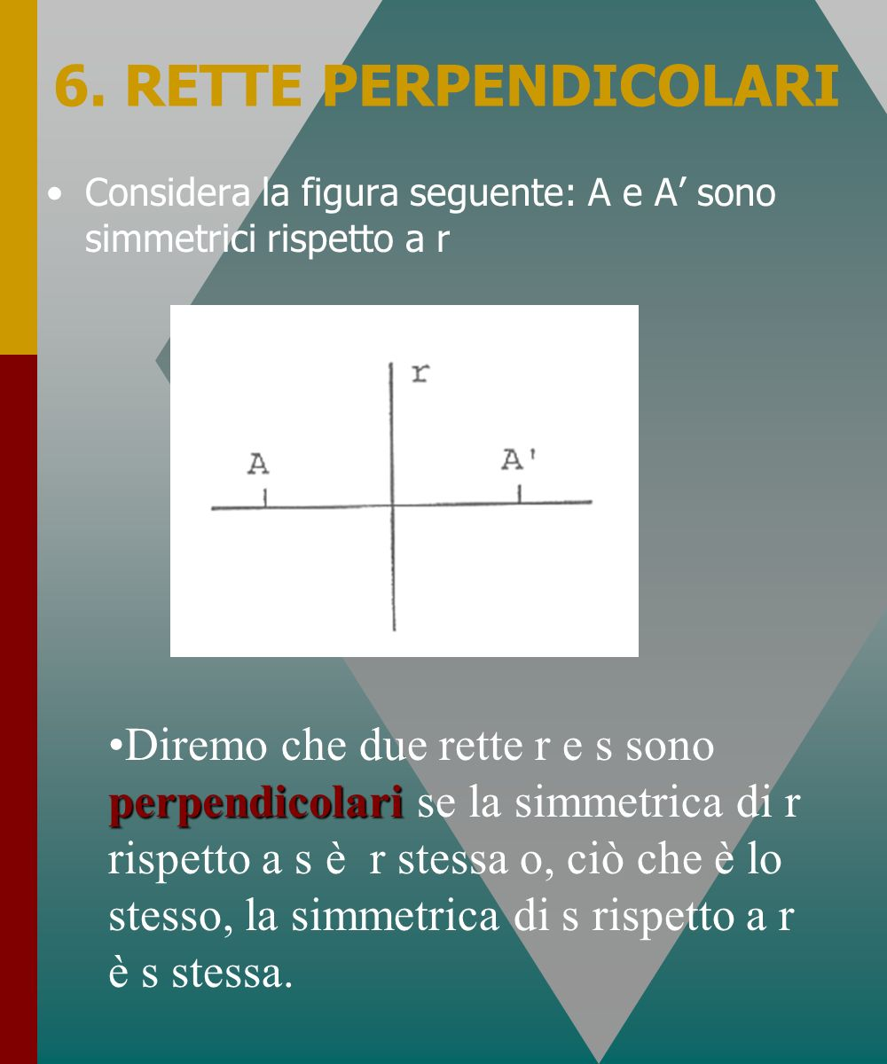 6. RETTE PERPENDICOLARI Considera la figura seguente: A e A' sono simmetrici rispetto a r.