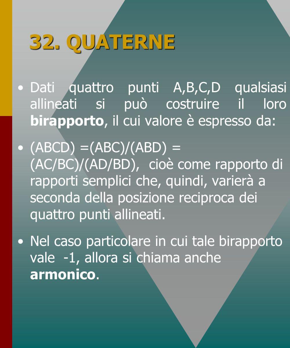 32. QUATERNE Dati quattro punti A,B,C,D qualsiasi allineati si può costruire il loro birapporto, il cui valore è espresso da: