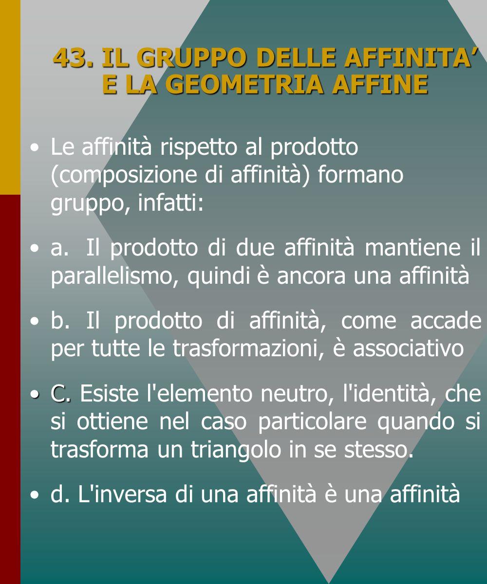 43. IL GRUPPO DELLE AFFINITA' E LA GEOMETRIA AFFINE