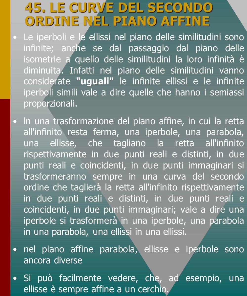 45. LE CURVE DEL SECONDO ORDINE NEL PIANO AFFINE