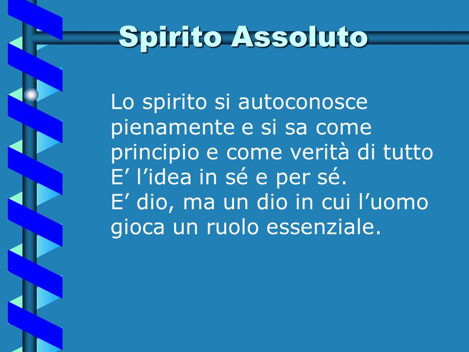 Spirito Assoluto Lo spirito si autoconosce pienamente e si sa come principio e come verità di tutto.