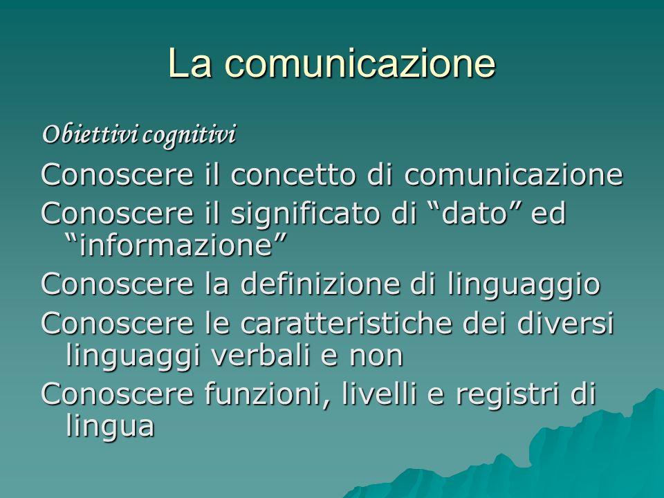 La comunicazione Obiettivi cognitivi