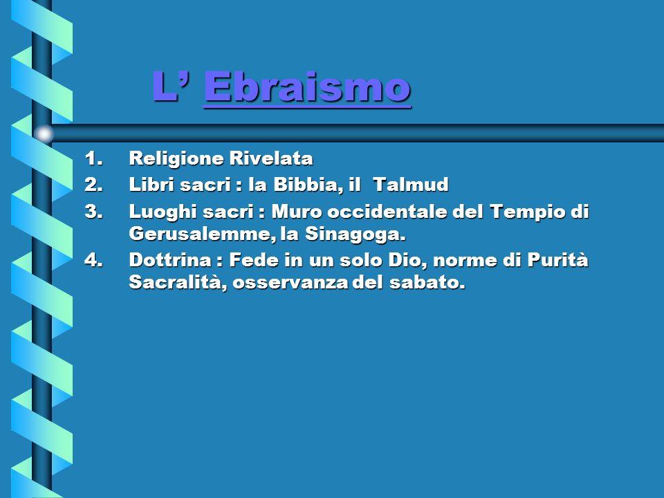 L' Ebraismo Religione Rivelata Libri sacri : la Bibbia, il Talmud