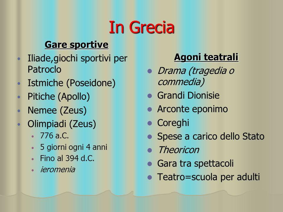 In Grecia Gare sportive Iliade,giochi sportivi per Patroclo
