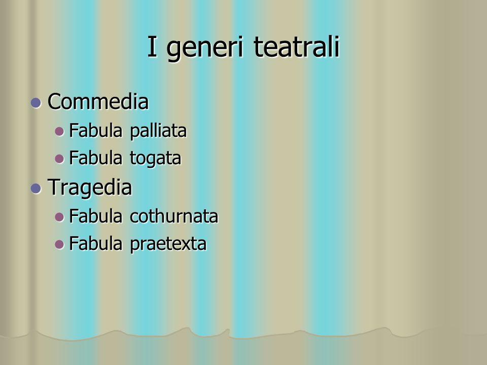 I generi teatrali Commedia Tragedia Fabula palliata Fabula togata