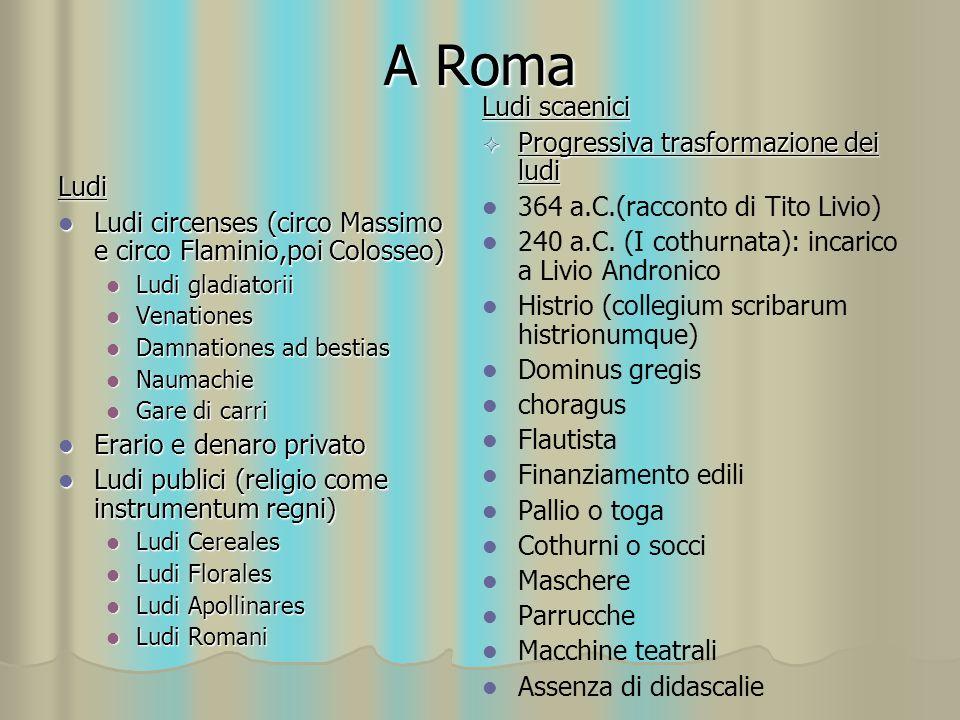 A Roma Ludi scaenici Progressiva trasformazione dei ludi