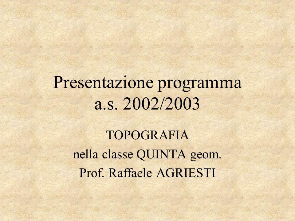 Presentazione programma a.s. 2002/2003
