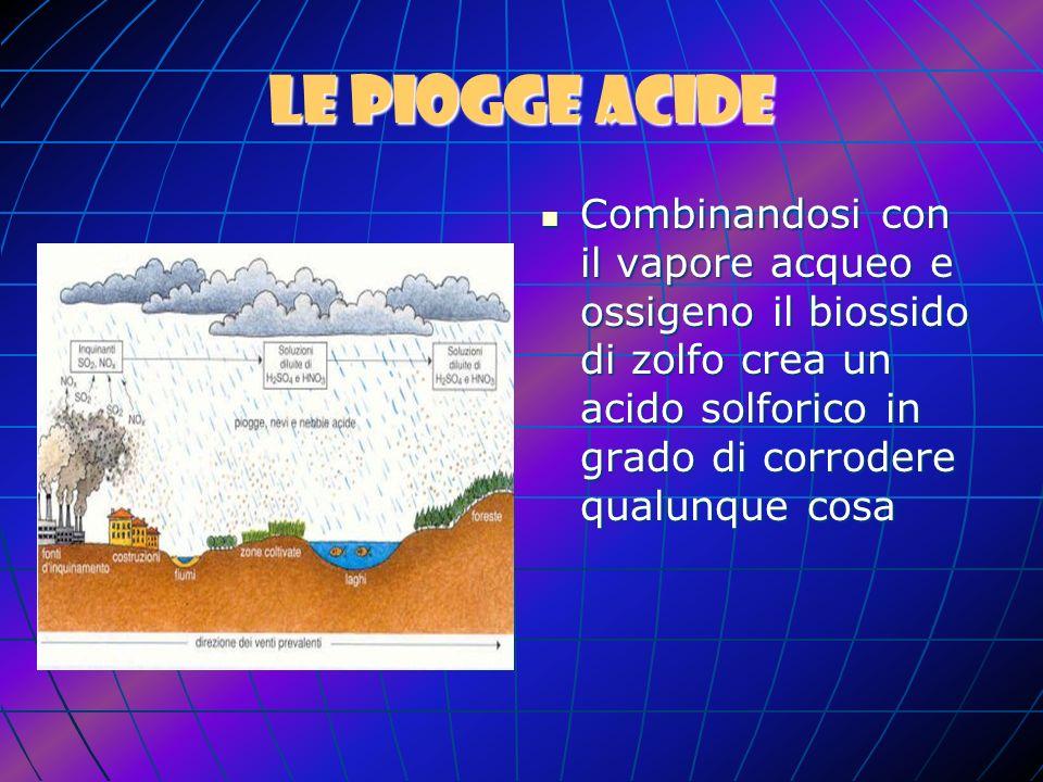 Le piogge acide Combinandosi con il vapore acqueo e ossigeno il biossido di zolfo crea un acido solforico in grado di corrodere qualunque cosa.