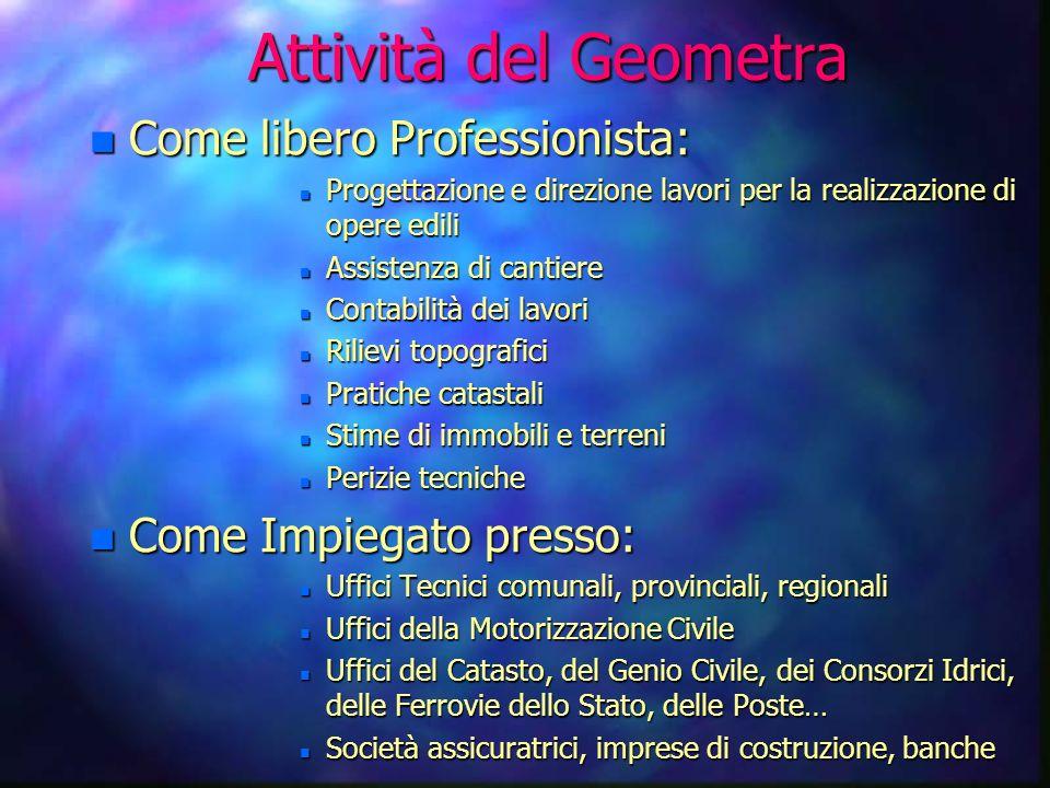 Attività del Geometra Come libero Professionista: