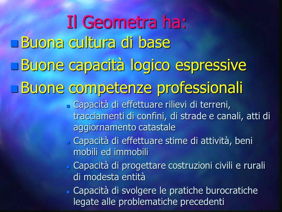 Il Geometra ha: Buona cultura di base Buone capacità logico espressive