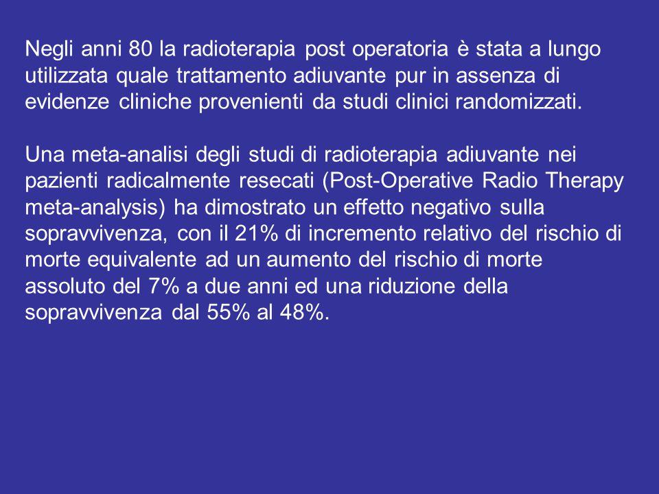 Negli anni 80 la radioterapia post operatoria è stata a lungo utilizzata quale trattamento adiuvante pur in assenza di evidenze cliniche provenienti da studi clinici randomizzati.