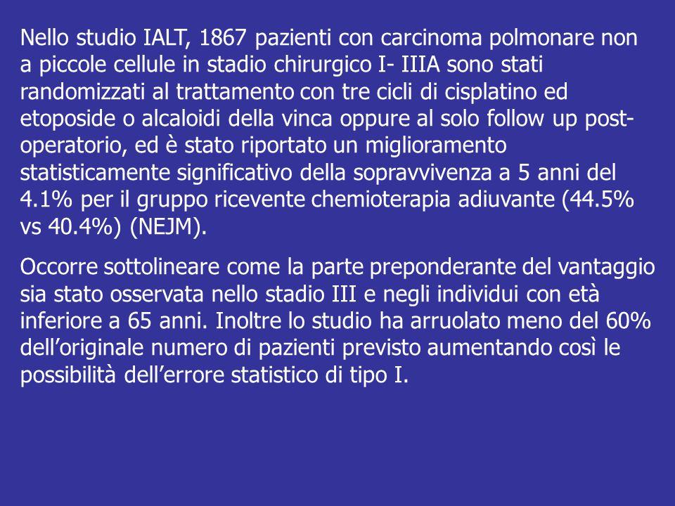 Nello studio IALT, 1867 pazienti con carcinoma polmonare non a piccole cellule in stadio chirurgico I- IIIA sono stati randomizzati al trattamento con tre cicli di cisplatino ed etoposide o alcaloidi della vinca oppure al solo follow up post-operatorio, ed è stato riportato un miglioramento statisticamente significativo della sopravvivenza a 5 anni del 4.1% per il gruppo ricevente chemioterapia adiuvante (44.5% vs 40.4%) (NEJM).