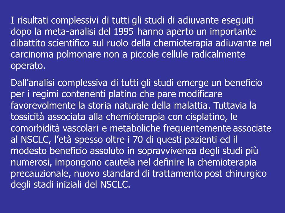I risultati complessivi di tutti gli studi di adiuvante eseguiti dopo la meta-analisi del 1995 hanno aperto un importante dibattito scientifico sul ruolo della chemioterapia adiuvante nel carcinoma polmonare non a piccole cellule radicalmente operato.