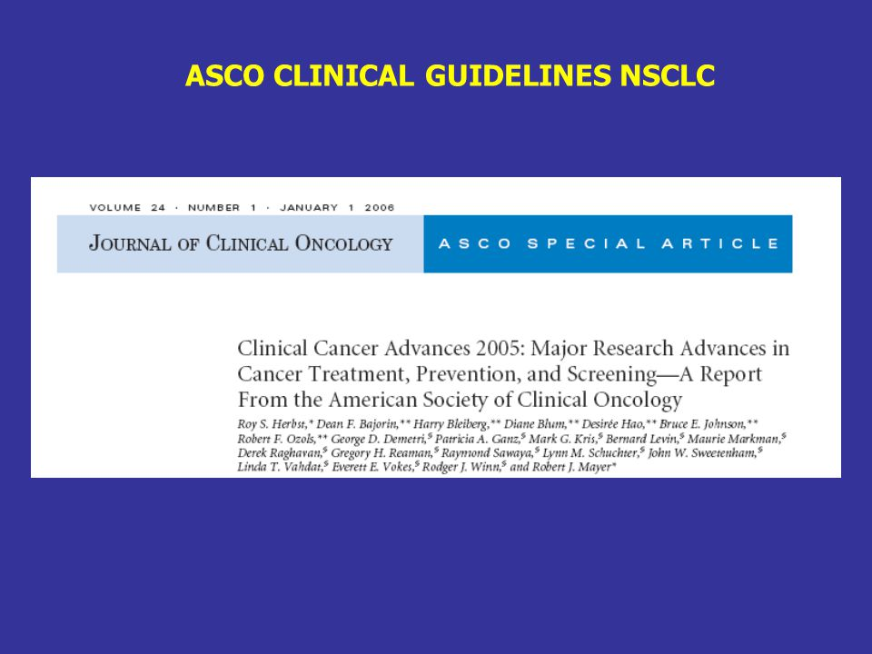 ASCO CLINICAL GUIDELINES NSCLC