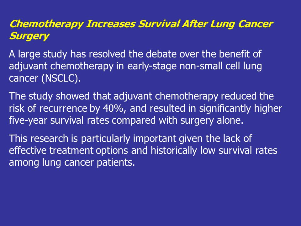 Chemotherapy Increases Survival After Lung Cancer Surgery