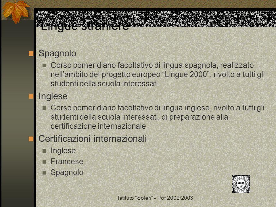 Lingue straniere Spagnolo Inglese Certificazioni internazionali