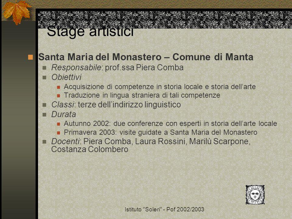 Stage artistici Santa Maria del Monastero – Comune di Manta