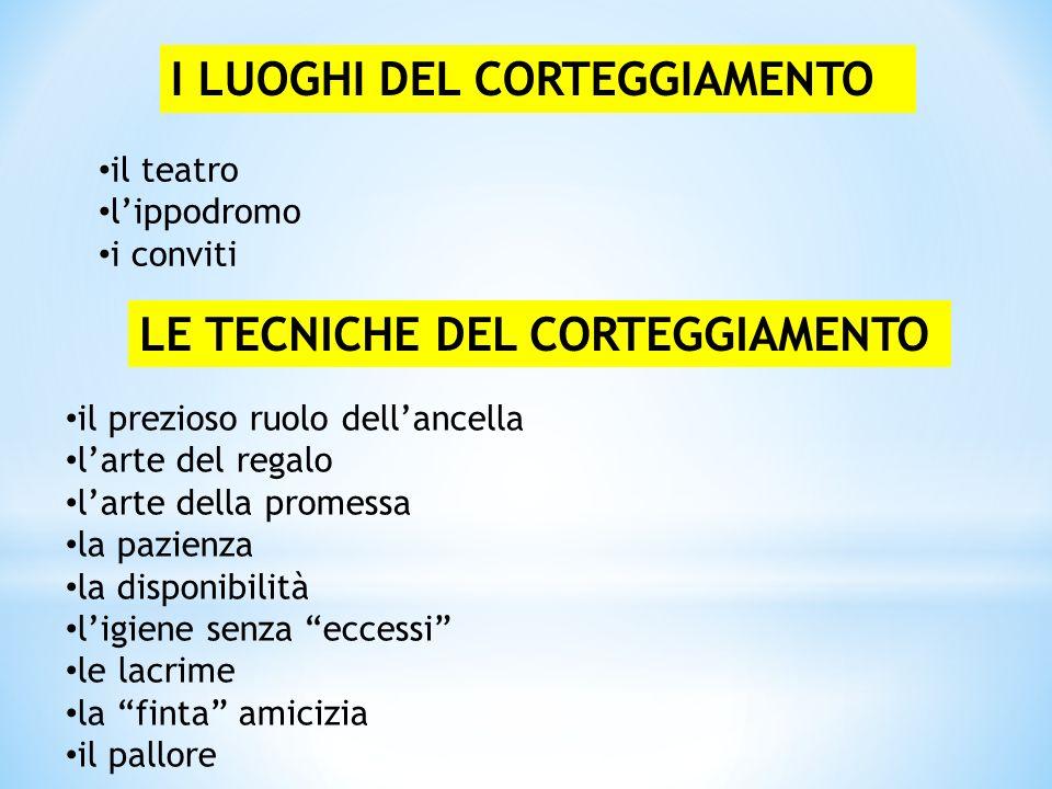 I LUOGHI DEL CORTEGGIAMENTO