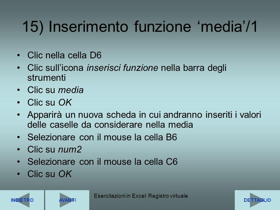 15) Inserimento funzione 'media'/1