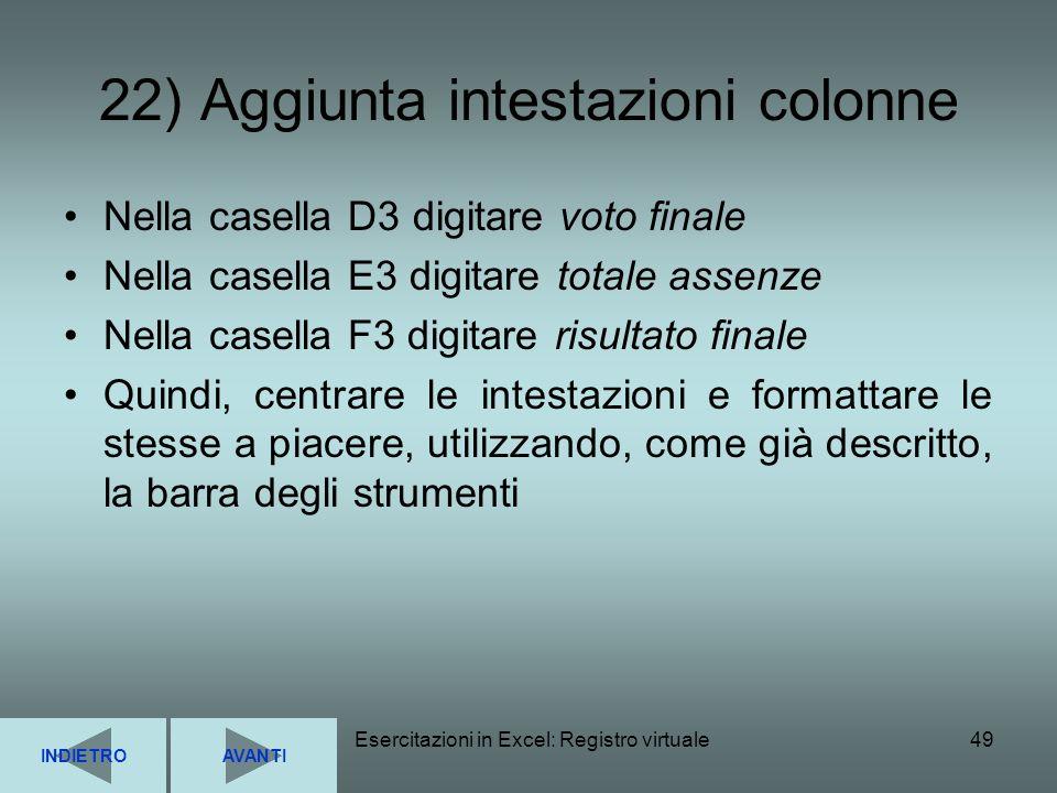 22) Aggiunta intestazioni colonne
