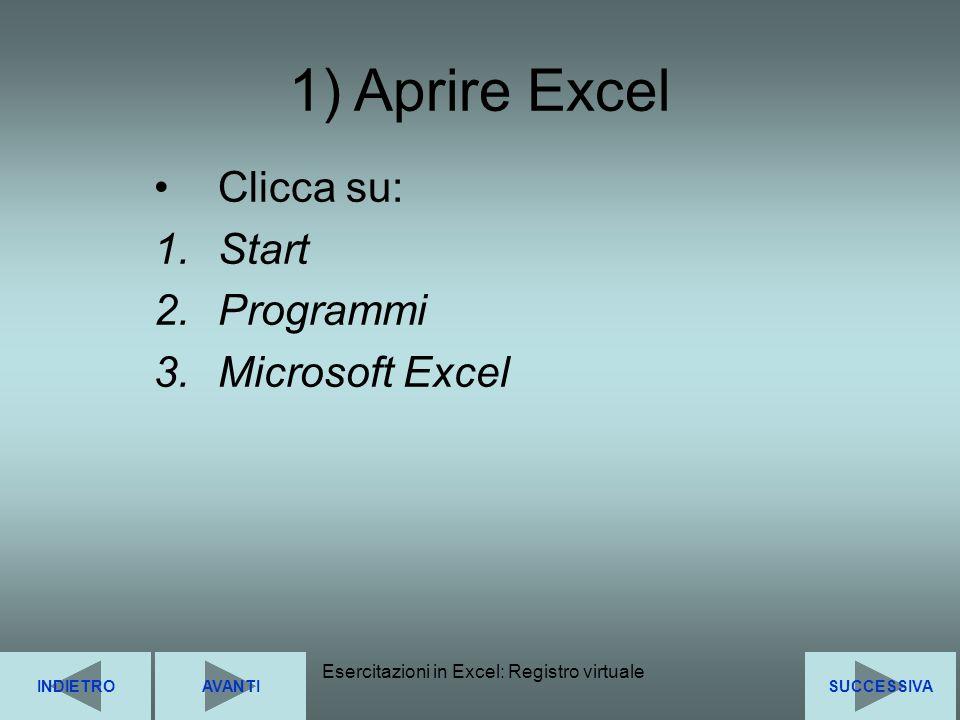 Clicca su: Start Programmi Microsoft Excel
