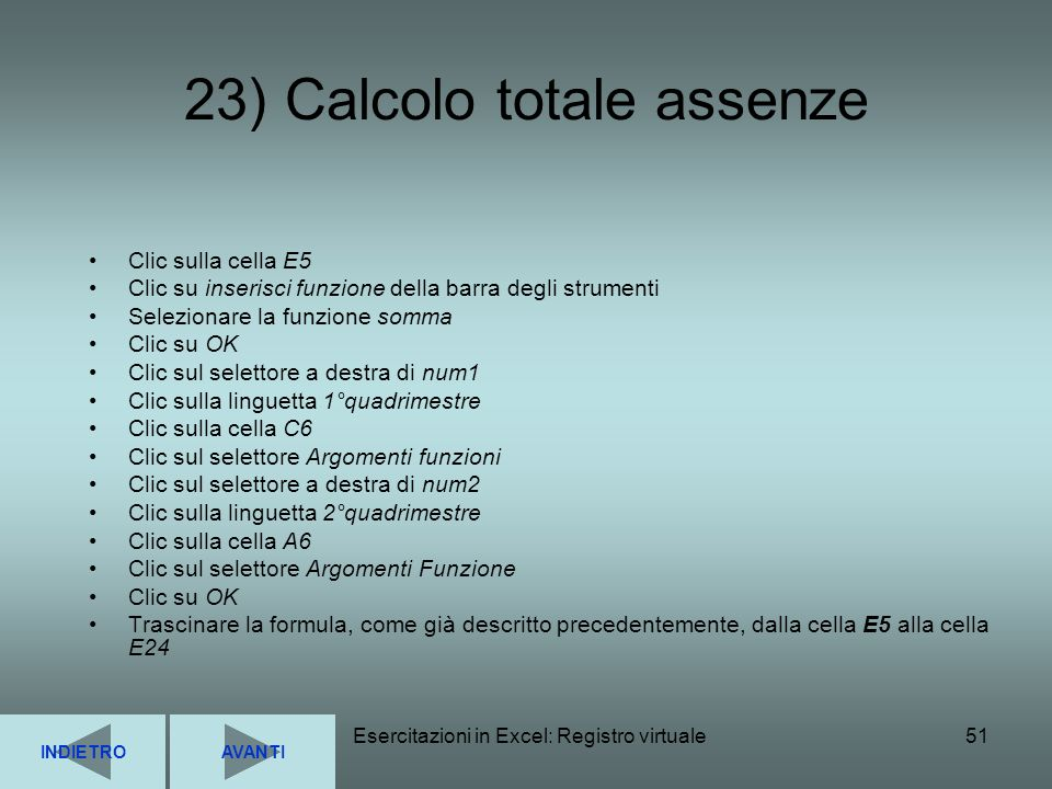 23) Calcolo totale assenze