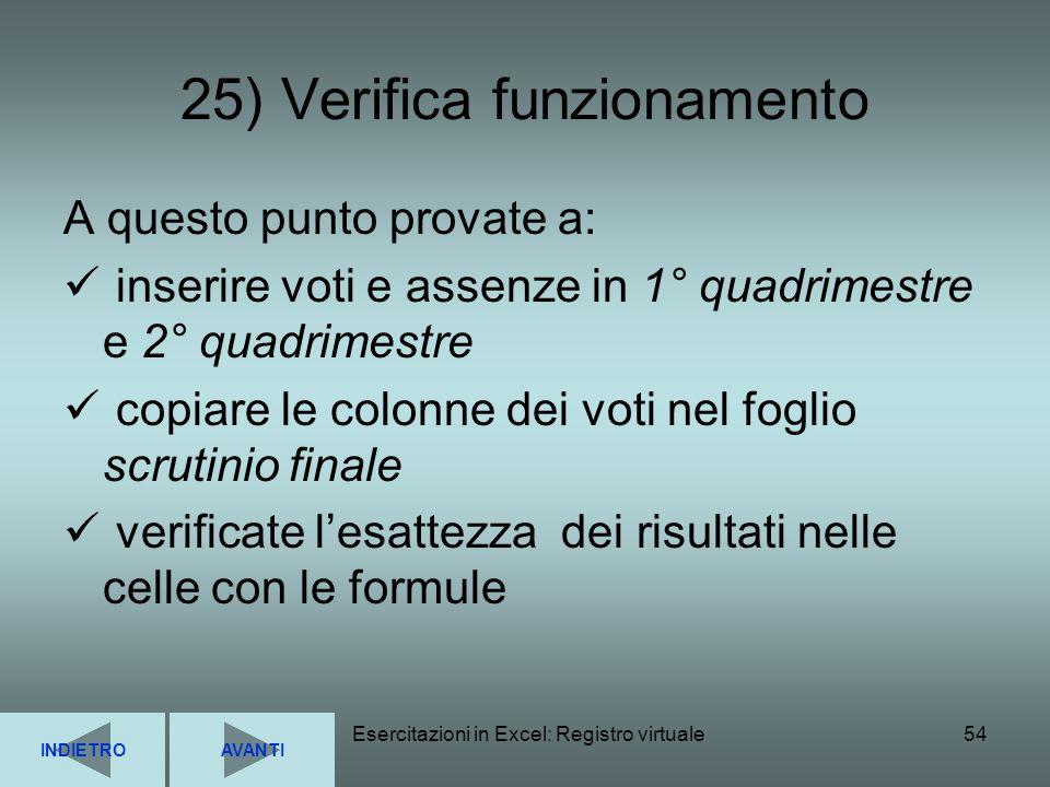 25) Verifica funzionamento