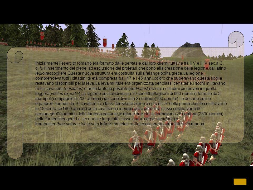 Inizialmente l'esercito romano era formato dalle gentes e dai loro clienti,tuttavia tra il V e il IV sec.a.C.
