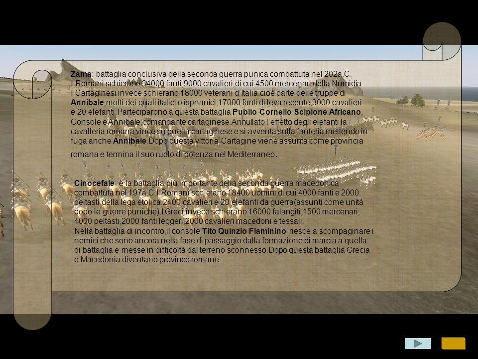 Zama: battaglia conclusiva della seconda guerra punica combattuta nel 202a.C.