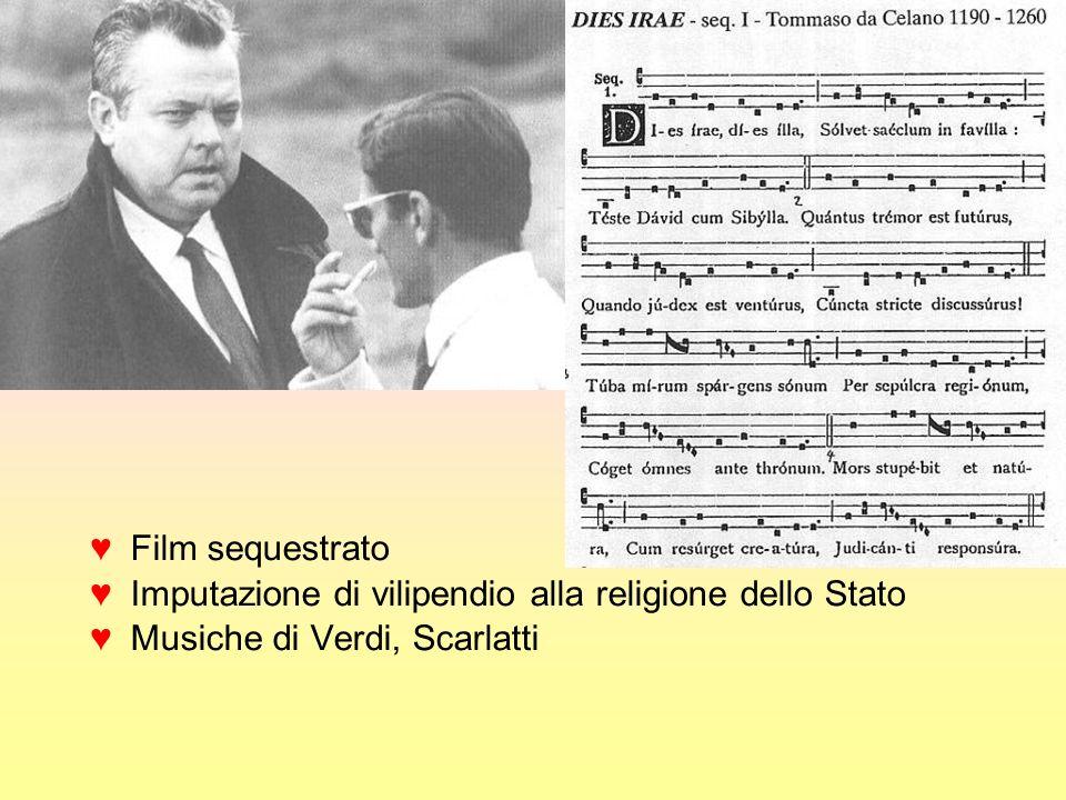 Film sequestrato Imputazione di vilipendio alla religione dello Stato Musiche di Verdi, Scarlatti
