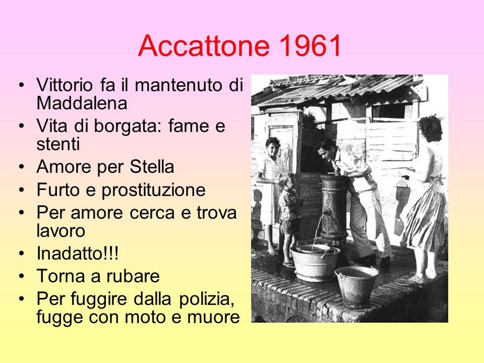 Accattone 1961 Vittorio fa il mantenuto di Maddalena