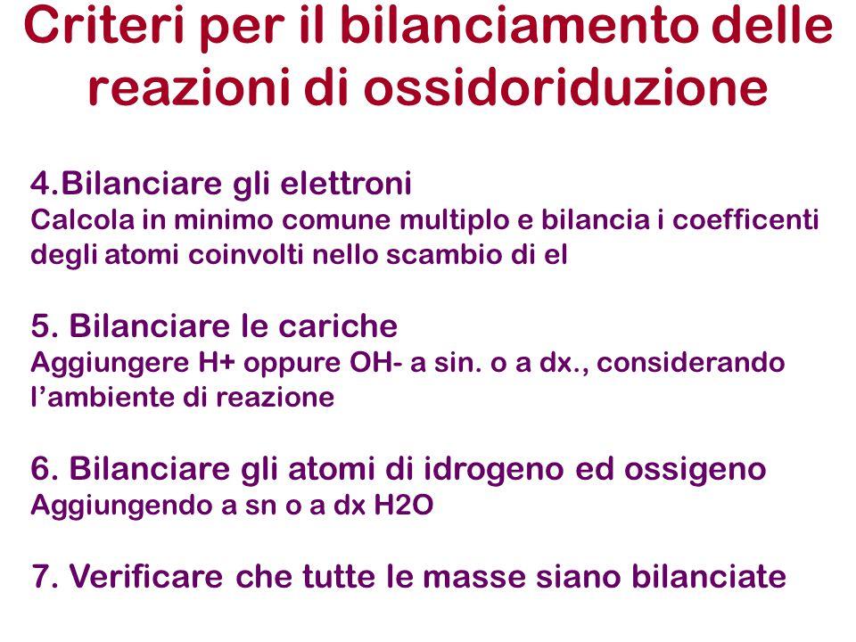Criteri per il bilanciamento delle reazioni di ossidoriduzione