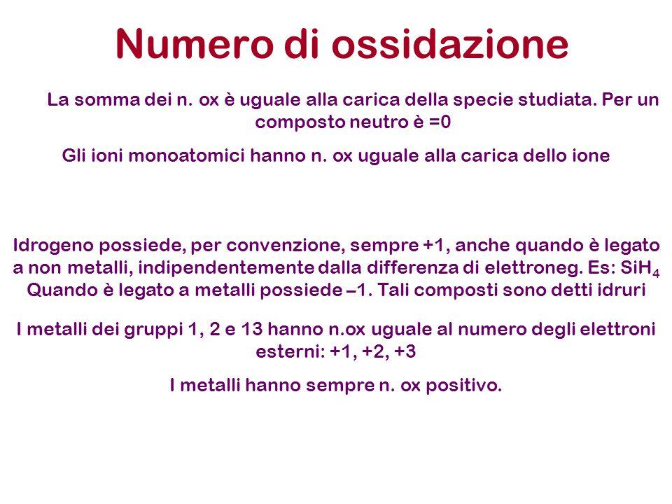 Numero di ossidazione La somma dei n. ox è uguale alla carica della specie studiata. Per un composto neutro è =0.