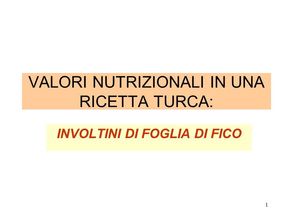 VALORI NUTRIZIONALI IN UNA RICETTA TURCA: