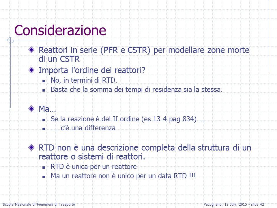 Considerazione Reattori in serie (PFR e CSTR) per modellare zone morte di un CSTR. Importa l'ordine dei reattori