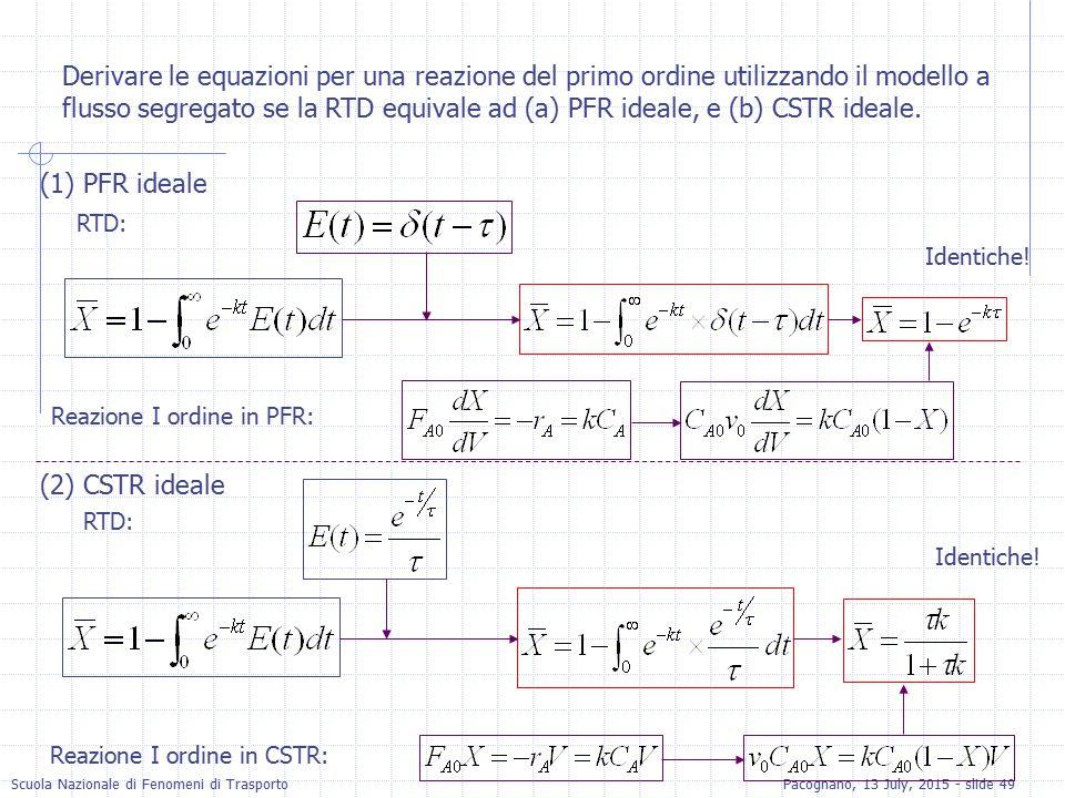 Derivare le equazioni per una reazione del primo ordine utilizzando il modello a flusso segregato se la RTD equivale ad (a) PFR ideale, e (b) CSTR ideale.