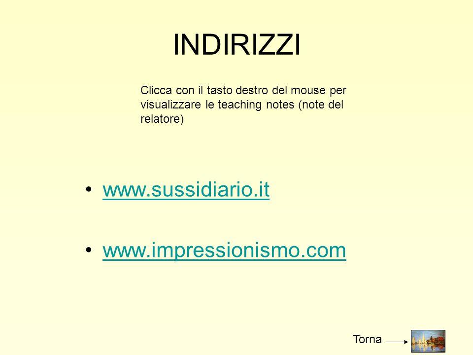 INDIRIZZI www.sussidiario.it www.impressionismo.com