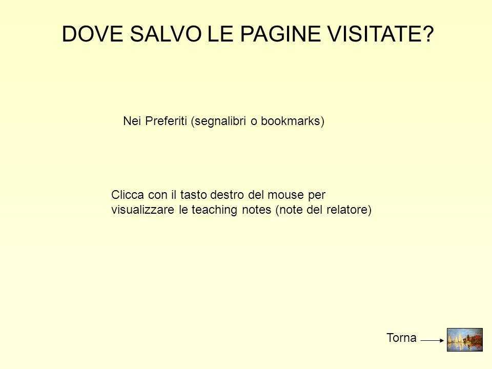 DOVE SALVO LE PAGINE VISITATE