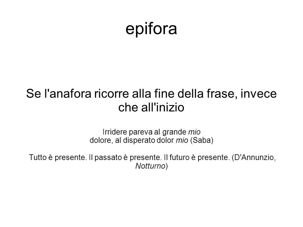 epifora Se l anafora ricorre alla fine della frase, invece che all inizio. Irridere pareva al grande mio.