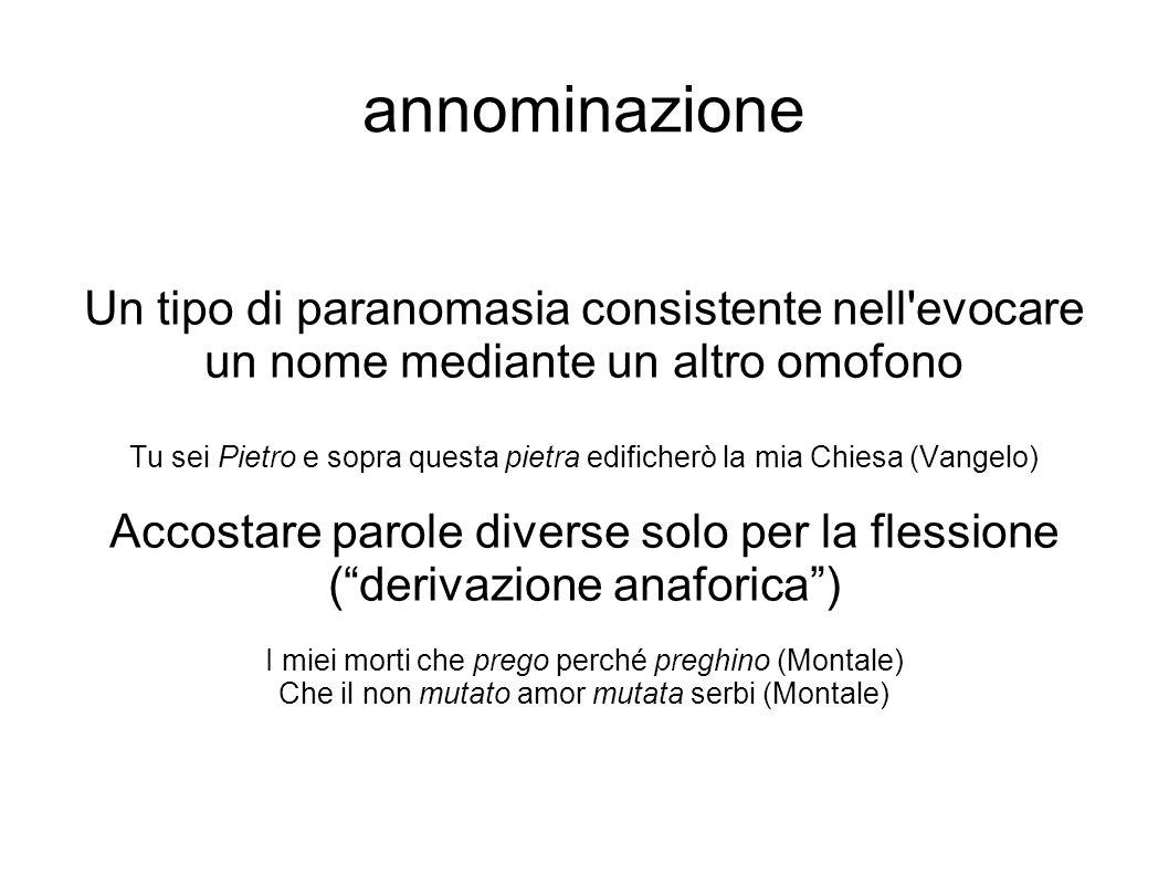 annominazione Un tipo di paranomasia consistente nell evocare un nome mediante un altro omofono.