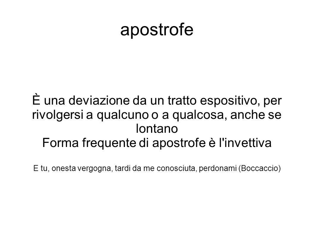 apostrofe È una deviazione da un tratto espositivo, per rivolgersi a qualcuno o a qualcosa, anche se lontano.