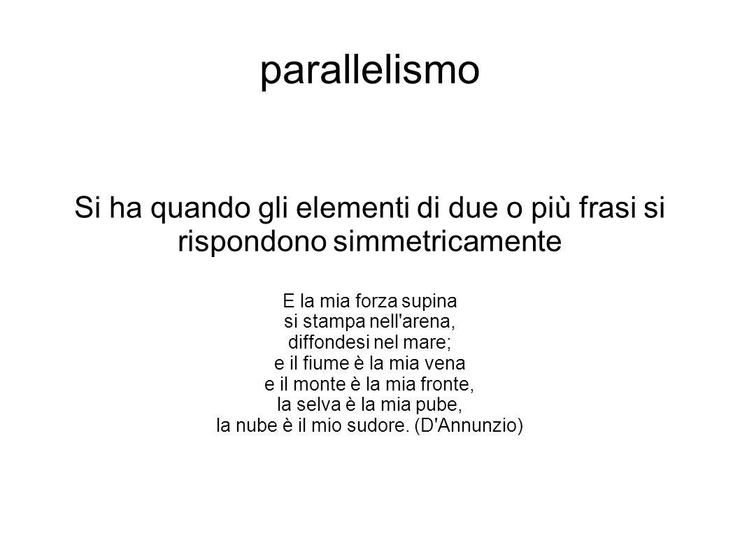 parallelismo Si ha quando gli elementi di due o più frasi si rispondono simmetricamente. E la mia forza supina.