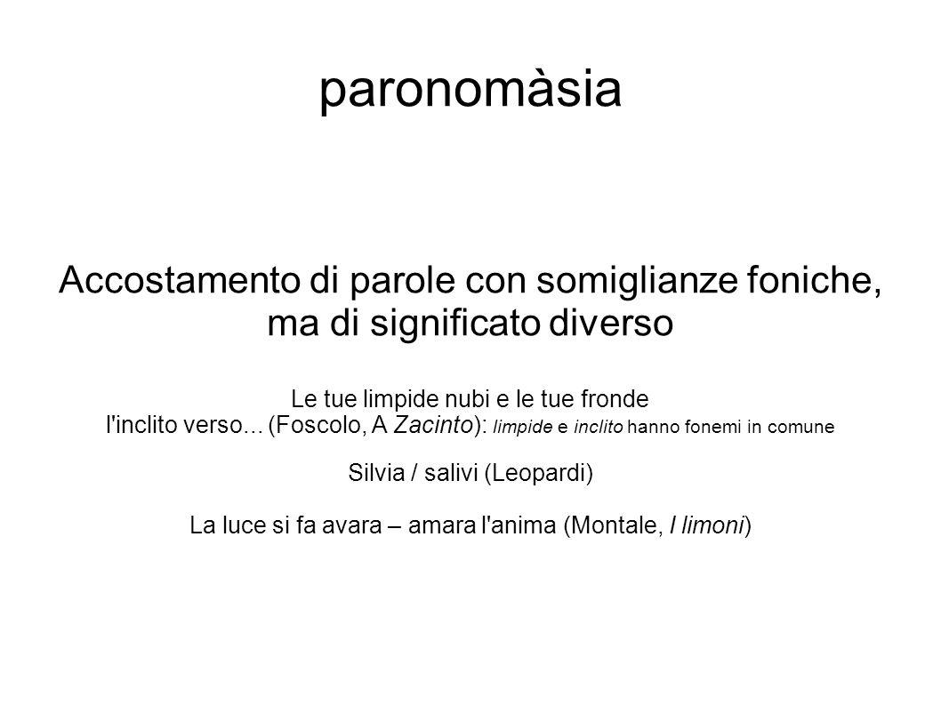 paronomàsia Accostamento di parole con somiglianze foniche, ma di significato diverso. Le tue limpide nubi e le tue fronde.