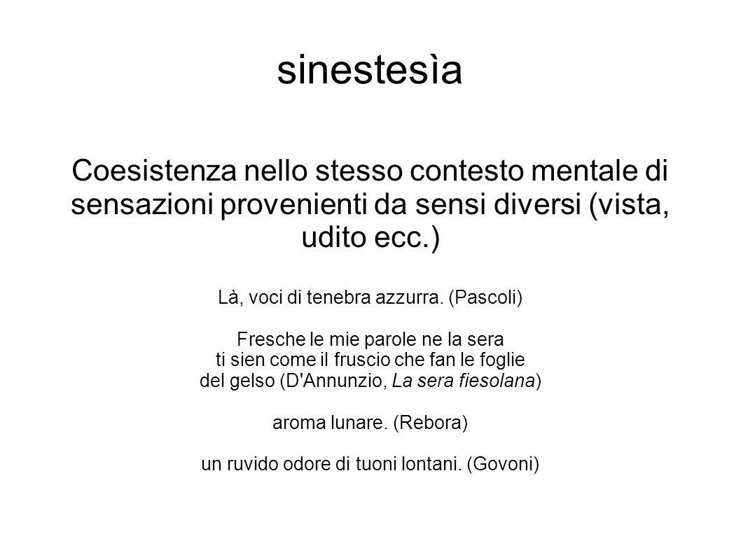 sinestesìa Coesistenza nello stesso contesto mentale di sensazioni provenienti da sensi diversi (vista, udito ecc.)