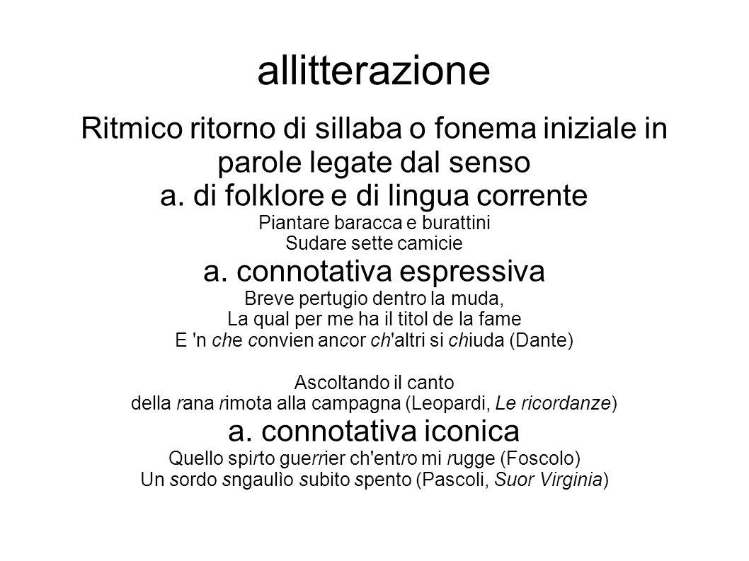 allitterazione Ritmico ritorno di sillaba o fonema iniziale in parole legate dal senso. a. di folklore e di lingua corrente.