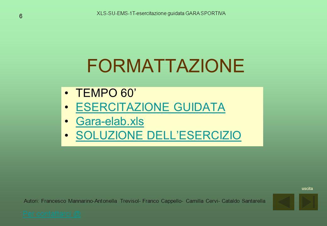 FORMATTAZIONE TEMPO 60' ESERCITAZIONE GUIDATA Gara-elab.xls