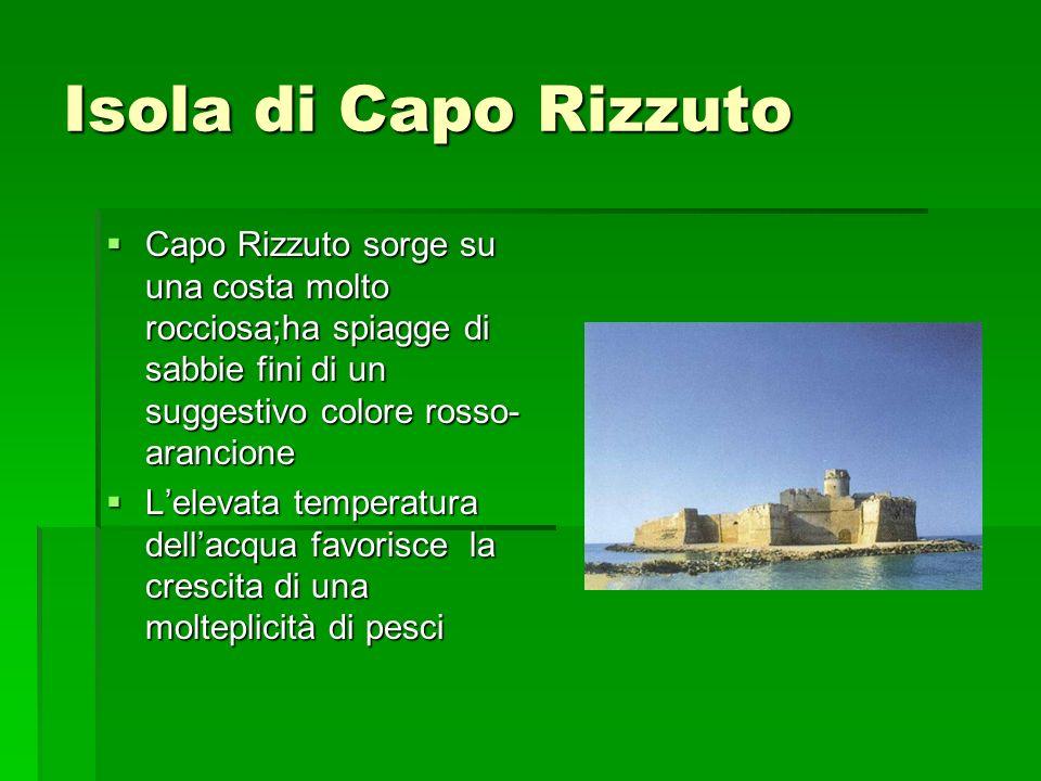 Isola di Capo Rizzuto Capo Rizzuto sorge su una costa molto rocciosa;ha spiagge di sabbie fini di un suggestivo colore rosso-arancione.